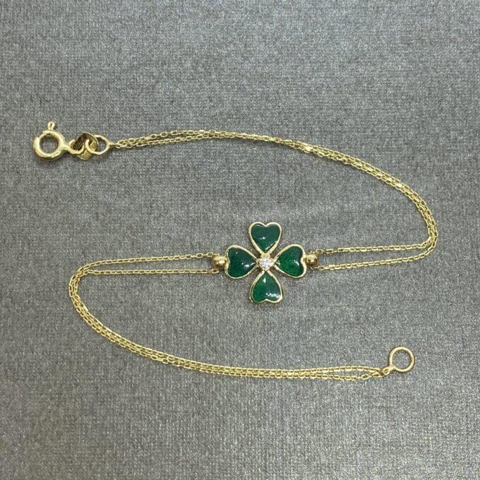 14K Solid Gold Four Leaf Clover Bracelet , Gift for Her ,Four Leaf Green Clover Gold, Charm Bracelet, Gold Clover Bracelet ,Women's Jewelry