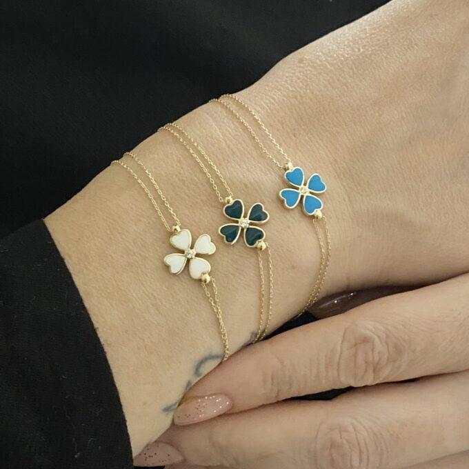 14K Solid Gold Four Leaf Clover Bracelet , Gift for Her ,Four Leaf Green Clover Gold, Charm Bracelet, Gold Clover Bracelet for women