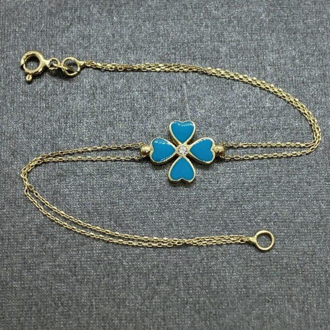 14K Solid Gold Four Leaf Clover Bracelet for Women, Four Leaf Green Clover Gold, Charm Bracelet, Gold Clover Bracelet ,Handmade Jewelry