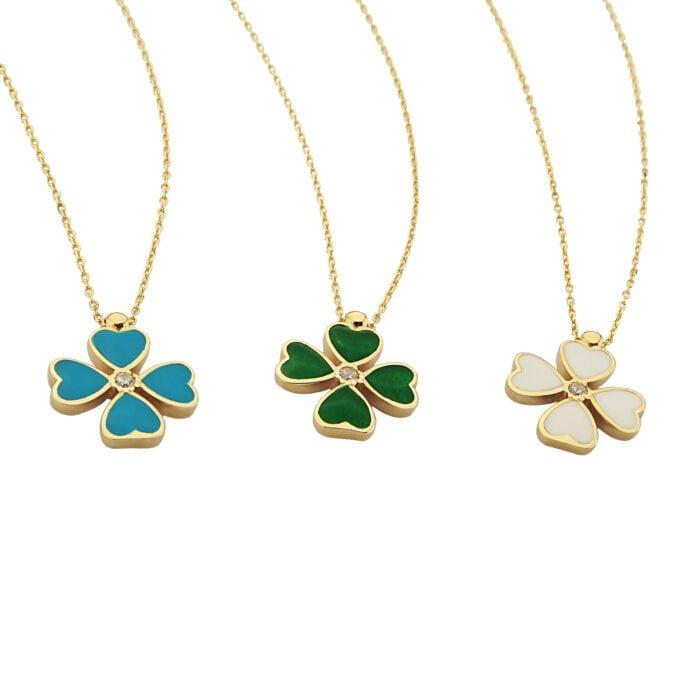 14K Solid Gold Four Leaf Clover Necklace for Women , Clover Jewellery, 4 leaf clover necklace