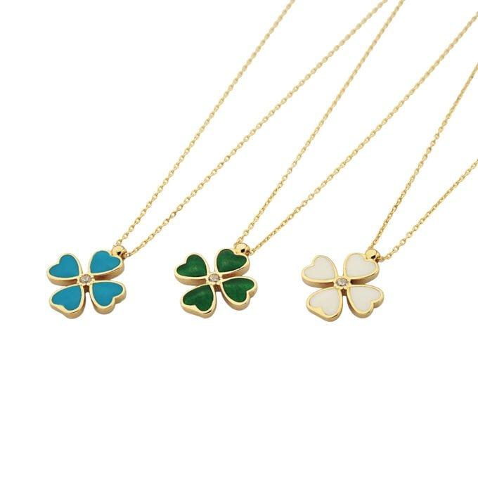 14K Solid Gold Four Leaf Clover Necklace for Women , Clover Jewellery, 4 leaf clover necklace gold.jpg
