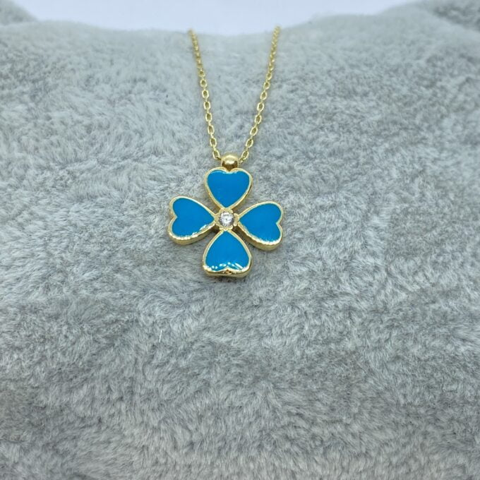 14K Solid Gold Four Leaf Clover Necklace for Women , Clover Jewellery , christmas gifts