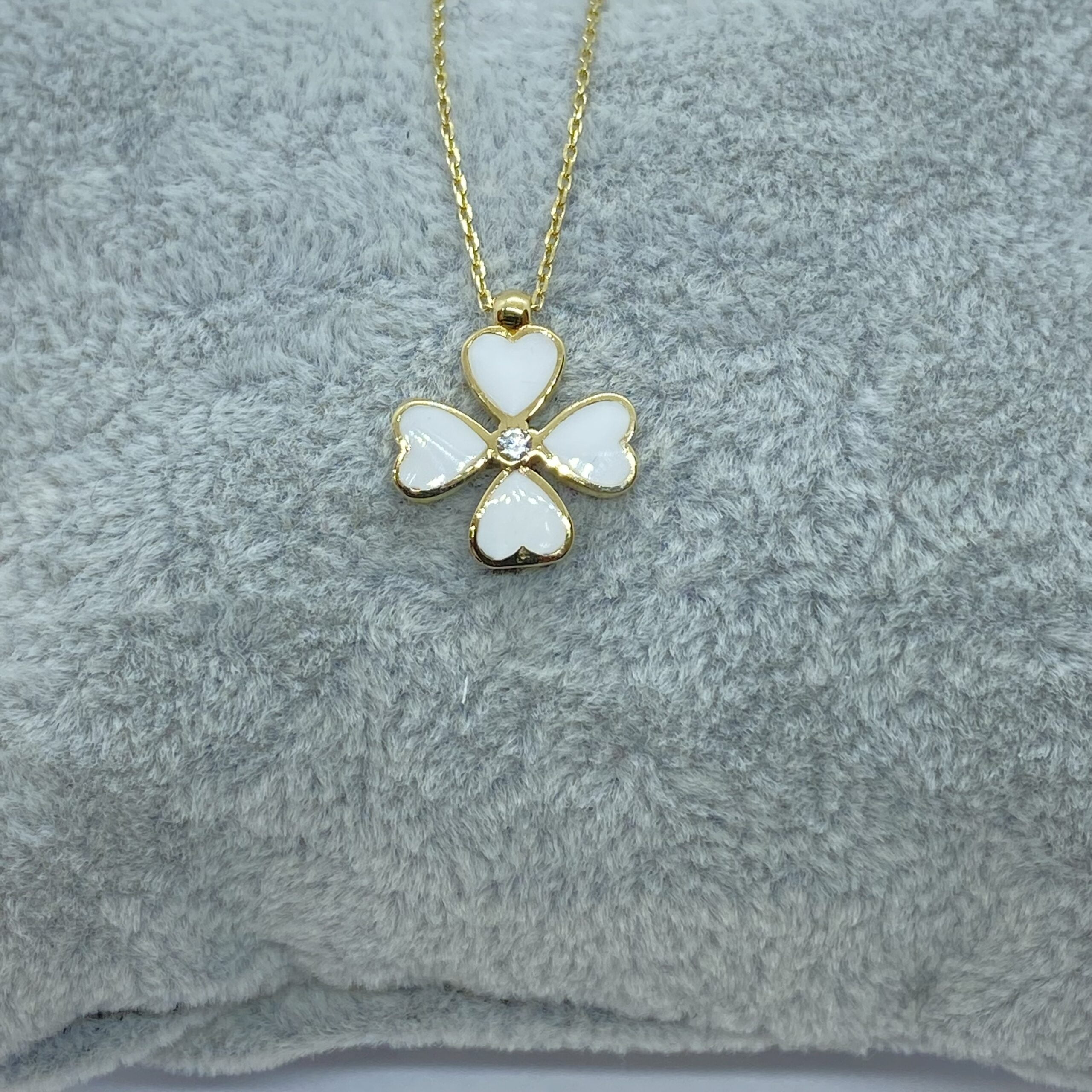 14K Solid Gold Four Leaf Clover Necklace for Women , Clover Jewellery , clover jewelry , shamrock necklace gold
