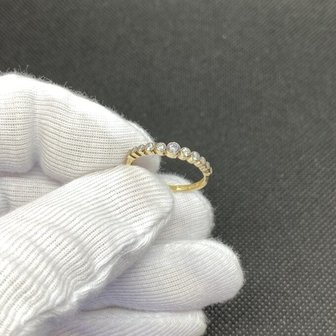 Dainty CZ Stacking Ring, 14K Real Solid Gold CZ Ring for Women ,14K Gold Stackable Ring ,Gold Ring, CZ Ring ,Cubic Zirconia Ring