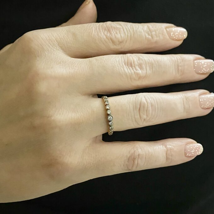 Dainty CZ Stacking Ring, 14K Real Solid Gold CZ Ring for Women ,14K Gold Stacking Ring ,Gold Minimalist Ring, CZ Ring ,Cubic Zirconia Ring