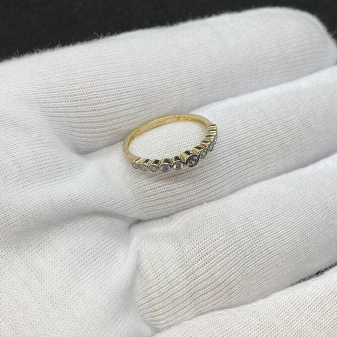 Dainty CZ Stacking Ring, 14K Solid Gold CZ Ring for Women ,14K Gold Stackable Ring ,Gold Minimalist Ring, CZ Ring ,Cubic Zirconia Ring