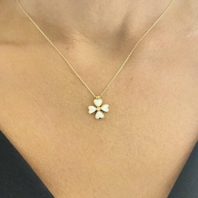 14K Solid Gold Four Leaf Clover Necklace for Women , Clover Jewellery , four leaf clover necklace gold