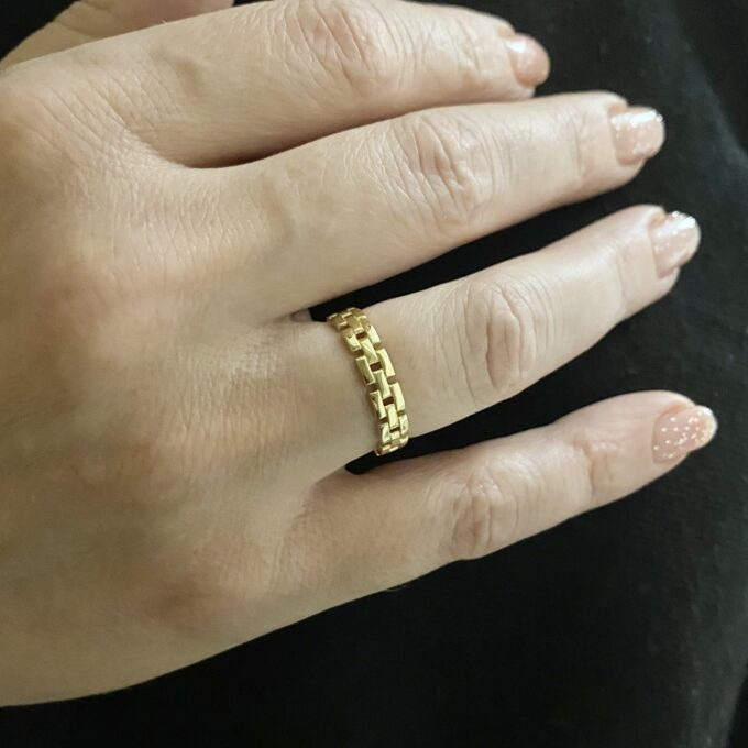 ple Dainty Ring Gold, 14K Solid Gold Band Ring, Christmas Gift for Mother mom mum